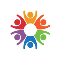 Team work people group of 6 winners logo