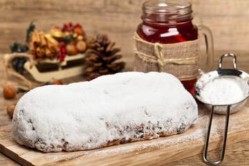 Traditional German Christmas cake. Stollen