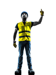 construction worker signaling looking up hoist silhouette