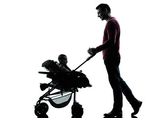 man father with baby carriage silhouette