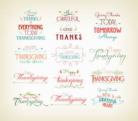 Vintage Typographic Thanksgiving Design Set