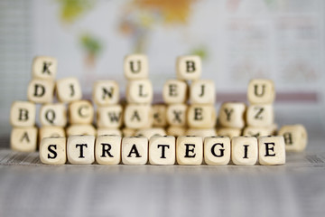 strategy word on newspaper background