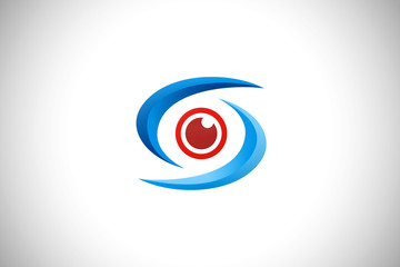 eye optic abstract technology vector logo