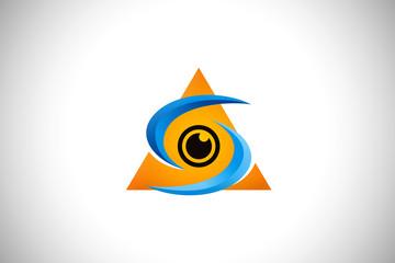 eye optic lens technology vector logo
