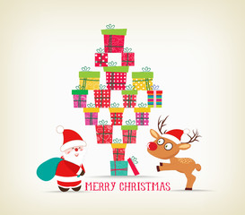 merry christmas with gifts, deer and santa claus card