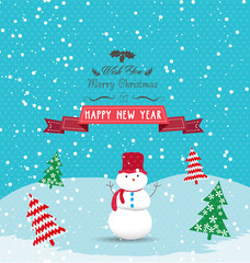 christmas and happy new year with greeting card