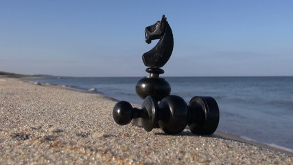 two black retro chess pieces on summer sea beach