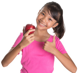 Young Asian Malay teen showing a thumbs up sign with a red apple