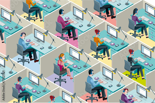Isometric Office Cubicles - 73021521