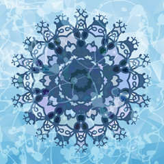 Snowflake like design over blue triangles background. Round