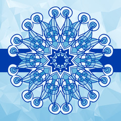 Blue colour vintage vector pattern. Hand drawn abstract mandala