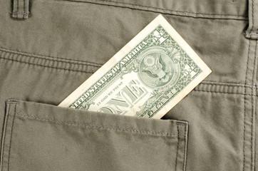 One dollar in back pocket