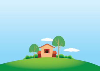 Cartoony Stule Country House and Trees on Grassland