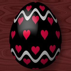 Easter egg with hearts and wavy lines on wooden texture