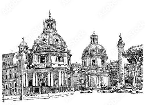 In de dag Art Studio black and white digital drawing of Rome Italy cityscape