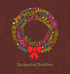 Handwritten Christmas wreath card Word Cloud design