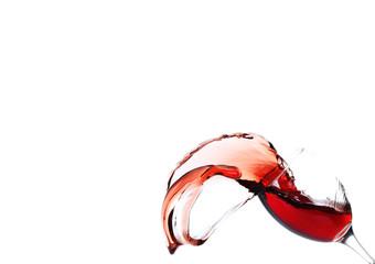 Splash of red wine isolated on white