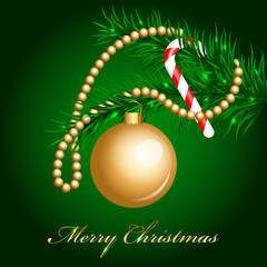 Vector decorated christmas fir