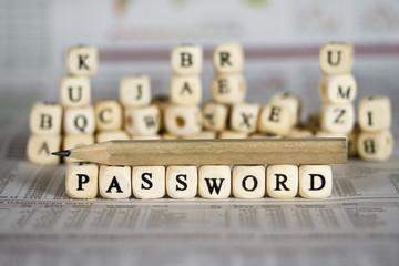 password word on newspaper background