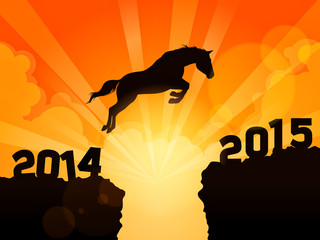 A horse jumping from year 2014 to year 2015
