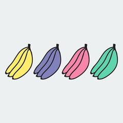 set of hand-drawn banana