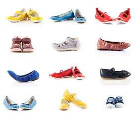 children shoes isolated on white background.   collection of dif