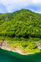 Mountain lake.  green water lake in forest