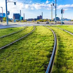 Tram rails.  Tram tracks.
