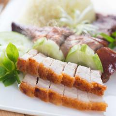 Chinese roasted pork or siu yuk
