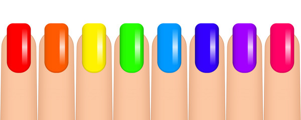 Vector illustration of colorful nails