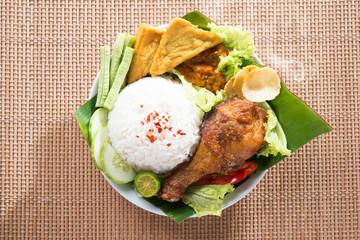 Tasty Asian food nasi ayam penyet