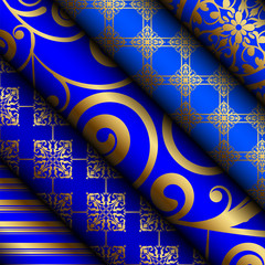 Vector illustration of blue fabric / paper rolls with gold decor