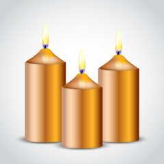 Vector illustration of gold candles