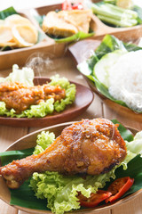 Delicious Asian food nasi ayam penyet