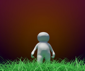 small people 3d - 3d little person walking on the grass