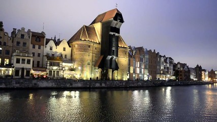 The riverside with the characteristic crane of Gdansk, Poland.
