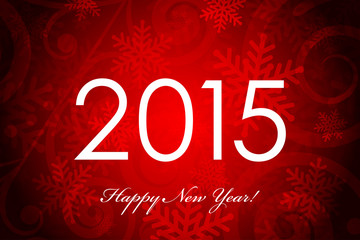 Vector 2015 red & white background with snowflakes