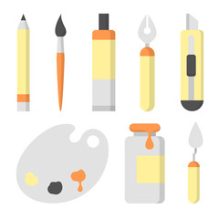 Set of  flat icons for painting