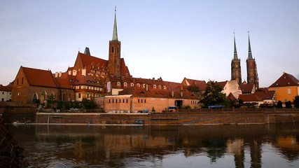 Wroclaw, Poland. View from a bank of the Odra river.
