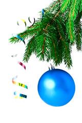 blue ball ball on the Christmas tre
