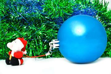 blue ball with santa