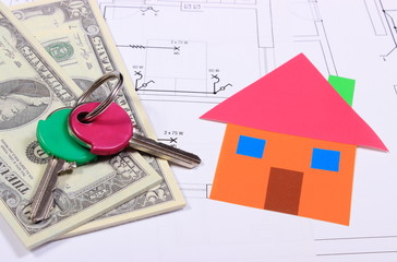 Banknotes, home of colored paper and keys on drawing of house