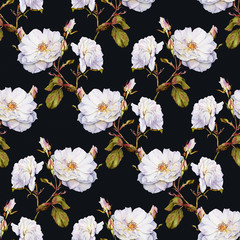 White roses bush botanical watercolor seamless pattern