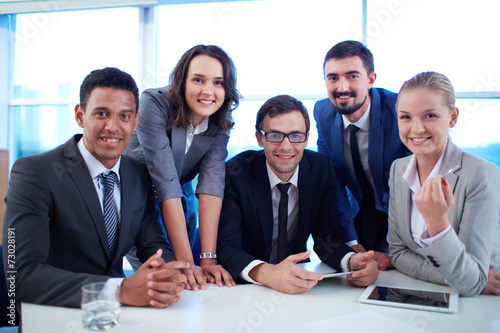 canvas print picture Happy business group