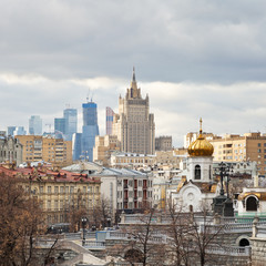 Moscow cityscape with City in autumn day