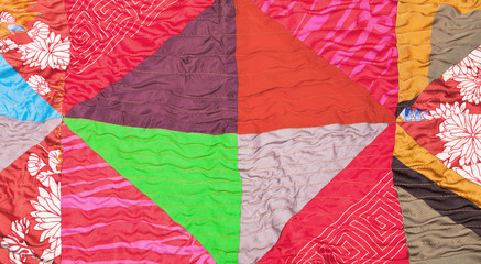 geometric pattern of silk patchwork quilt