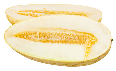 cut in half Uzbek-Russian Melon isolated on white