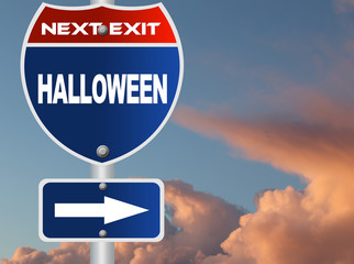 Halloween road sign