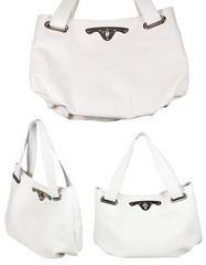 set of ladies white leather handbags isolated