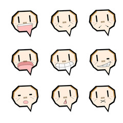 吹き出しキャラクター/表情セット/おじさん